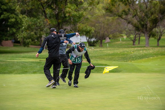 celebration at the finish of the 2020 Wichita Open